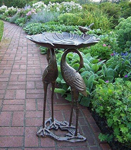 Oakland Living 2-Crane Lily Bird Bath