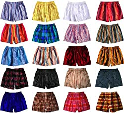"Two Assorted Madras Silk Boxers by Royal Silk - S (30-32"") - 100% Silk"