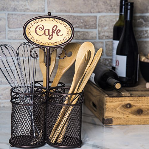 3 Sectional Home & Kitchen Wrought Iron Utensil (Picnic) Caddy with CAFA sighn For Utensil, Spatula, Silverware Holder for Kitchen Countertop Storage,Centerpiece (Countertop Spatula Holder compare prices)