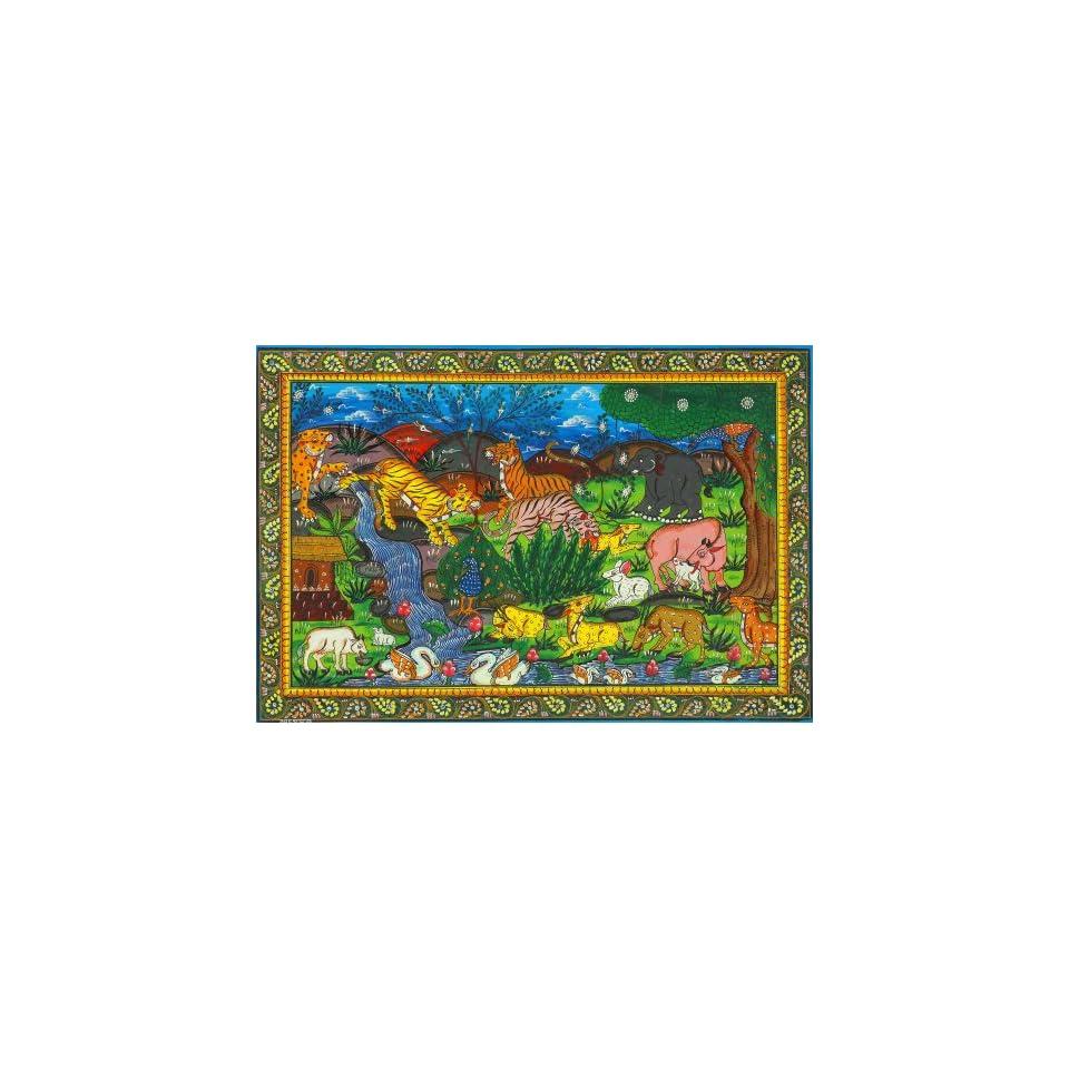 Wild Life Scene   Water Color Painting on Patti   Folk Art From The Temple Town Puri (Orissa)   Arti