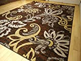 Large 8x11 Modern Area Rug Comteporary Abstract Carpet 8x10 Rug Brown Black Rugs Beige 5x8 Rug Living Room Floor Carpet 5x7 Modern Brown Beige Area Rugs (Medium 5x8)