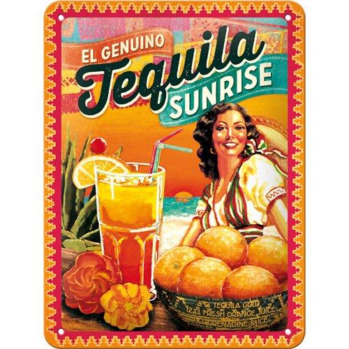 Plaque en metal 30 x 40 cm - Cocktail Time - Tequila Sunrise