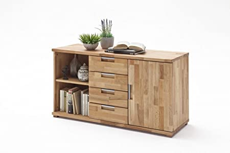 Dreams4Home Massivholz Sideboard 'Verona' - Schrank, Kommode, Konsole, Sideboard, Highboard, Aufbewahrung, Massiv, B/H/T: 115 x 38 x 65 cm, Kernbuche geölt, Asteiche geölt, Holzarten:Asteiche geölt