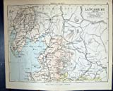 Philips Antique Map 1882 Lancashire Lancaster Ulverston Barrow England