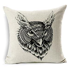 homechoice cotton linen burlap owl black and white durable