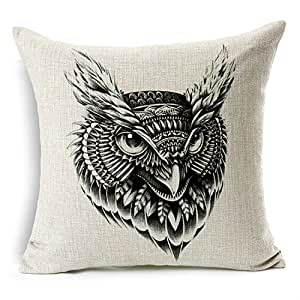 homechoice cotton linen burlap owl black and white durable