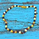 Raw Baroque Baltic Amber Teething Necklace for Baby - Maximum Pain Relief