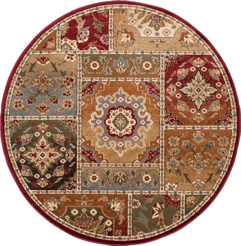 universal rugs 107720 red 6 39 round area rug 5 feet 3 inch round coconuas228. Black Bedroom Furniture Sets. Home Design Ideas