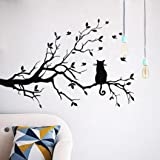 Wall Sticker , Cat On Long Tree Branch Wall Sticker Animals Cats Art Decal Kids Room Decor (Color: Black)
