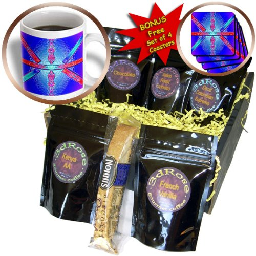 Cgb_55875_1 Jos Fauxtographee Abstract - Blue, Pink, Purple And Aqua With Sticks Of Plastic Forming An Interesting Shape - Coffee Gift Baskets - Coffee Gift Basket