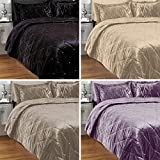 Riva Home Diamante Sateen Velvet Bedspread Set, Silver, 220 x 240 Cm