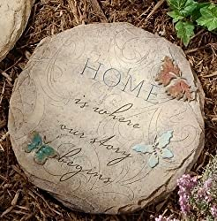 11.5&quot; Tammy Repp &quot;Home is Where...&quot; Round Outdoor Garden Stepping Stone