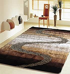 Shaggy living room brown 55 area rug 5 ft - Living room throw rugs ...