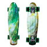 ENKEEO 22 Inch Cruiser Skateboard Plastic Banana Board with Bendable Deck and Smooth PU Casters for Kids Boys Youths Beginners, 220 Ibs.Star (Color: Star, Tamaño: 22 inch)
