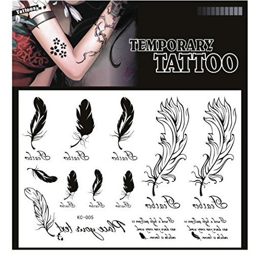 SYZ Beauty Waterproof Temporary Tattoos Feather Totem Tattoos