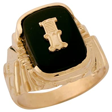 9ct Solid Gold Fancy Nugget Design Onyx Letter I Mens Initial Statement Ring
