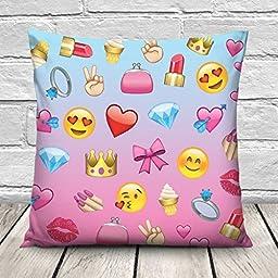 Funny Pillow Case Cushion Cover Soft 45 x 45cm NEW Emoji Girl [002]