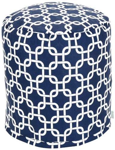 Majestic Home Goods Links Pouf, Small, Navy Blue front-956074