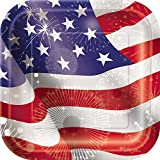 Square Old Glory Patriotic Dessert Plates, 10ct