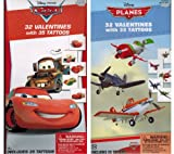 Disney Pixar Planes & Cars Valentine Value Pack - 2 Boxes - each 32 Valentines Cards with Tattoos