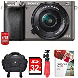 """Sony Alpha a6000 24.3MP Grey Interchangeable Lens Camera + 16-50mm Lens (ILCE6000L/H) w/32GB Bundle Includes, Digital Camera Padded Carrying Case +12"""" Rubberized Spider Tripod +32GB SDHC Memory Card"""