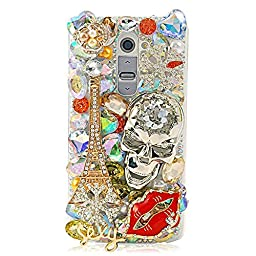 LG G4 Pro Bling Case - Fairy Art Luxury 3D Sparkle Series Kito Skull Eiffel Tower Lips Snow Flowers Sexy Crystal Design Back Cover with Soft Wallet Purse Red Cloth Pouch - Gold
