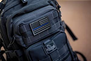 TACVASENBundle 2 pieces-Tactical US Flag Thin Blue Line Embrodiered Patch (Color: Gray-blue thin)