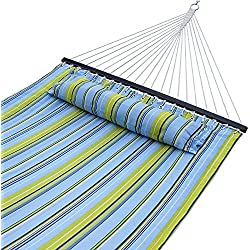 Zeny® New Portable Hammock Quilted Fabric with Pillow Double Size Spreader Bar Heavy Duty Outdoor Camping w/ Detachable Pillow, Blue and Green Stripe (Blue/Green)