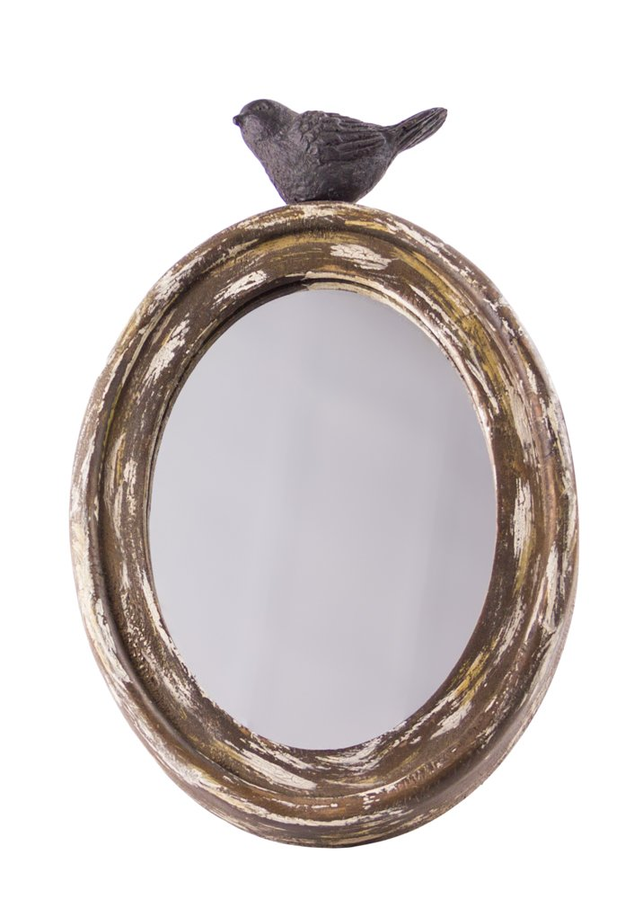 Rustic Chick Wood Oval Mirror With Bird 10 Quot