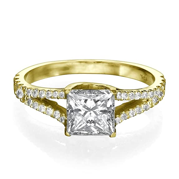 1 CT Solitaire Diamond Engagement Ring Princess Cut Main Stone with Accents H/SI1 (Clarity Enhanced) 14ct Yellow Gold