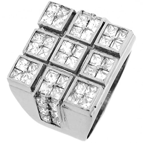 14ct White Gold Square White CZ Tic Tac Toe Design Mens Ring