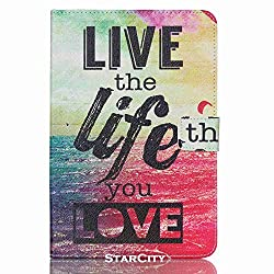 Galaxy Tab A 8.0 Case, StarCity ® Samsung Galaxy Tab A 8.0 SM-T350 (2015) Case [Stand Feature] - Folio Flip PU Leather Case Cover With Card Slot For Samsung Galaxy Tab A 8.0 inch (Live The Life)