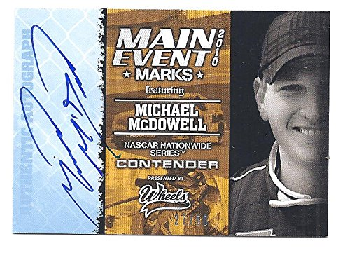 Michael Mcdowell 2010 Press Pass Wheels Main Event Marks Blue Parallel Autograph Card #27 Of Only 50 Made! Nascar Racing front-1033190