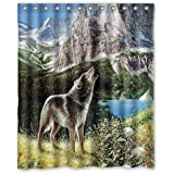 "Special Design Howling Wolf Waterproof Bathroom Fabric Shower Curtain,Bathroom decor 60"" x 72"""