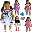 Barwa 7 items =5 PCS Outdoor Casual Outfit /Wear Dresses Clothes with OneHair Clips and One Pair Shoes Fits 18 Inches American Girl Dolls