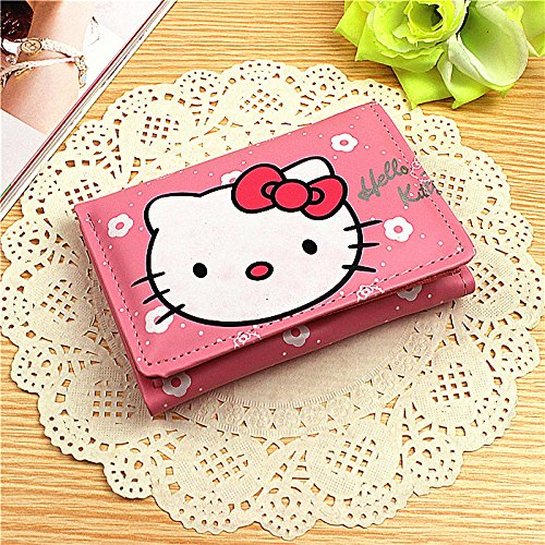 Best Review Of Girls Three Fold Leather Purse Hello Kitty Pattern Clutch Short Wallet Handbag Pink