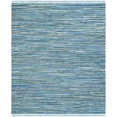 Safavieh Rag Rug Collection RAR121B Hand Woven Blue and Multi Cotton Area Rug, 9 feet by 12 feet (9' x 12')