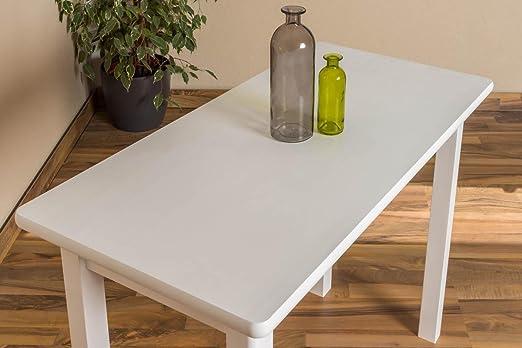 Massivholz Tisch 50x100 cm Kiefer, Farbe: Weiß