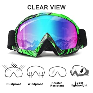 Dirt Bike Motorcycle Goggles, KEMIMOTO Adult Youth ATV Racing Outdoor Tactical Glasses Windproof Dust-proof Scratch Resistant Ski Goggles Eyewear Protective for Men Women (Color: Red goggle, Tamaño: Green)