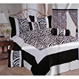 Queen Size Imperial 7 Piece Black / White Zebra Style Comforter Set Plus a Pair Window Curtains