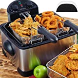 Secura 4.2L/17-Cup 1700-Watt Stainless-Steel Triple-Basket Electric Deep Fryer, with Timer Free Extra Odor Filter