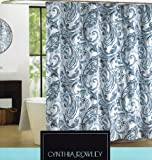 Cynthia Rowley Maeve Blue & White Large Scale Paisley Scroll Print Fabric Shower Curtain