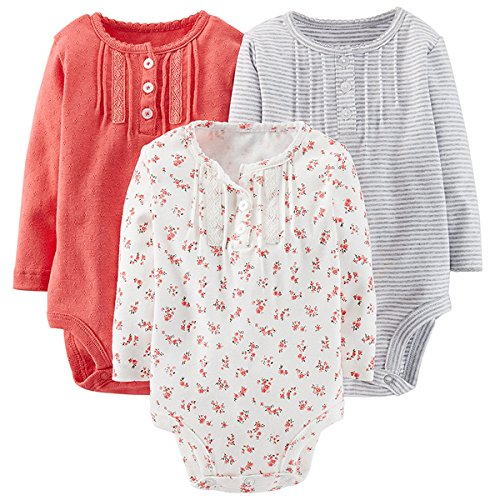 Carter'S Baby Girls' 3 Pack Patterned Bodysuits (Baby) - Assorted - 18 Months front-1024948