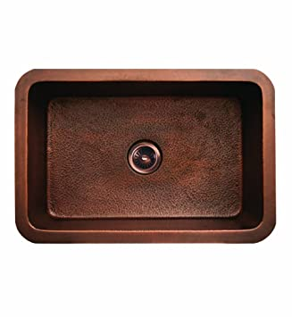 Whitehaus WH3020COUM-SCO Copperhaus 30-Inch Rectangular Undermount Smooth Textured Copper Sink, Smooth Copper