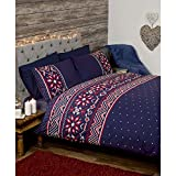 Nordic-Bettbezug-mit-Festlichem-Little-Hearts-Skandinavischer-Stil-Tropen-Design-Polycotton-Navy-Blue-Red-Einzelbett