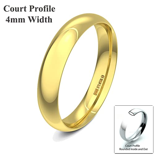 Xzara Jewellery - 18ct Yellow 4mm Court Profile Hallmarked Ladies Gents 4.6 Grams Wedding Ring Band