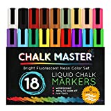 Chalkmaster® Liquid Chalk Markers - Ultimate 18 Color Liquid Chalk Premium Artist Quality Marker Pen Set + 6 FREE Additional 6 mm Reversible Chisel to Bullet Point Tips - 100% Satisfaction Guarantee