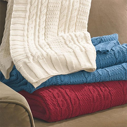 Brylanehome Cable Knit Throw (Burgundy,0) (Cable Knit Blanket Full compare prices)