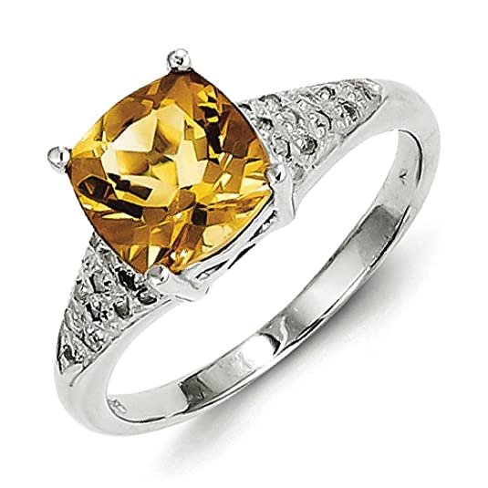Sterling Silver Rhodium Citrine Rough Diamond Ring - Ring Size Options Range: L to P