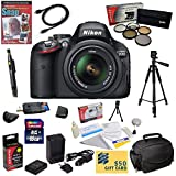 Nikon D5100 Digital SLR Camera with 18-55mm NIKKOR VR Lens With 47th Street Photo Best Value Accessory Kit: 16GB High-Speed SDHC Card + Card Reader + Extra Battery + Travel Charger + 52MM 5 Piece Pro Filter Kit (UV - CPL - FL - ND4 and 10x Macro Lens) + HDMI Cable + Padded Gadget Bag + Professional 60